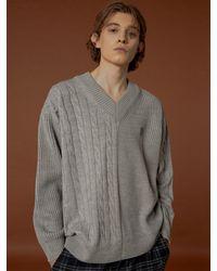 WAIKEI Mix V-neck Knit Jumper Grey