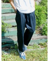 URBANDTYPE Pl091_two Tuck Wide Banding Pants_navy - Blue