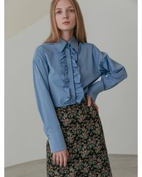 COLLABOTORY Ruffle Point Blouse 2 Colour - Blue