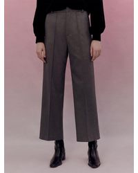 among A Semi Wide Banded Trousers - Natural