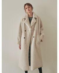 YAN13 Double Faced Long Shearling Coat Ivory - White