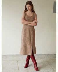 F.COCOROMIZ Tweed Wool Dress - Pink