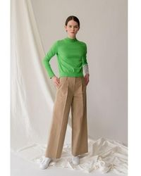 AEER Trousers Cotton Wide Bg - Natural