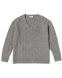 Clove Wool Oversized V-neck Sweater (gray)
