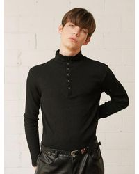 13Month Buttoned Turtle Neck Knit Top - Black