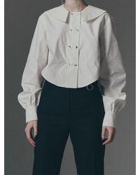 Fleamadonna Sailor Collar Cropped Shirt - Black
