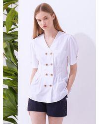 MILLOGREM Halite Double Blouse - White