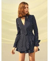 W Concept - Flower Printed Wrap Jumpsuit - Lyst
