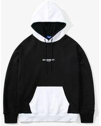 LAYER UNION Faux Fur Color Block Hoodie Black
