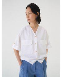 AEER V-neck Half Sleeve Gathered Waist Shirt White
