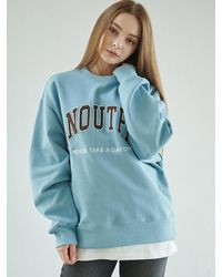 ANOUTFIT Patch Logo Heavy Sweatshirt Sky - Blue