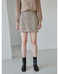 YAN13 Leopard A-line Mini Skirt - Natural