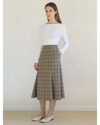 among A Check Mermaid Line Skirt - Natural