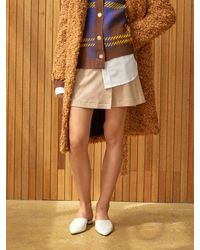 Clue de Clare Faux Suede Wrap Skirt - Natural