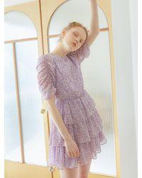 VEMVER Cancan Shirring Dress - Purple