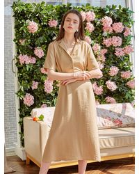 YAN13 - Open Collar A-line Dress Beige - Lyst