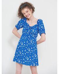 VEMVER Puff Sleeves Daisy Mini Dress - Blue