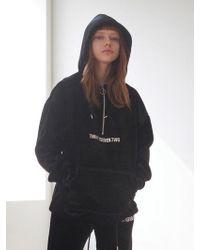 TARGETTO - Velvet Anorak Hoodie Black - Lyst