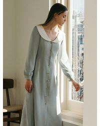 among A Romantic Collar Dress - Blue