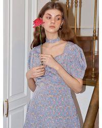 Salon de Yohn Square Neck Mini Dress - Blue