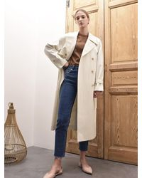 AVA MOLLI Emily Double Trench Coat White Stripe