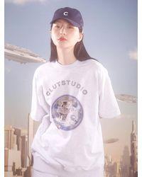CLUT STUDIO Cat Planet Half Sleeve Sweatshirt (white Melange)