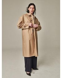 Bouton Blown Sleeve Trench Coat Beige - Natural
