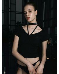 ULKIN String V-neck Tight T-shirt - Black