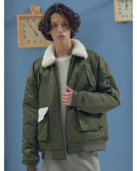 LIBERTENG Soft Corduroy Mix Bomber Jacket Khaki - Green