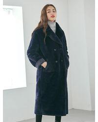 YAN13 Double Faced Long Mustang Coat - Blue