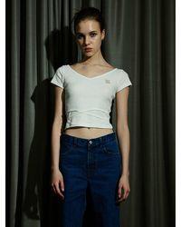 ULKIN String V-neck Tight T-shirt - White