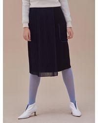 ANSWERING BIRD Joy Chiffon Pleats Skirt - Black