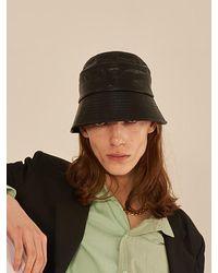 13Month Stitch Faux Leather Bucket Hat - Black