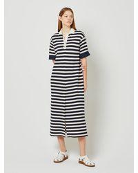 a.t.corner Long Stripe Cotton Dress (navy) - Blue