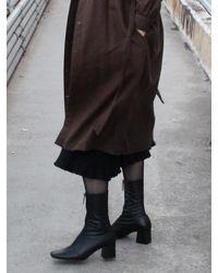 IGINOA Square Front Zipper Slim Boots 6 M-ig-180903 - Black