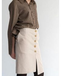 AEER   Corduroy Button Wrap Skirt L Beige   Lyst