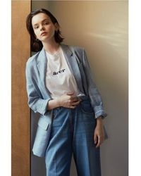 AEER Jacket Harringbone Linen - Blue