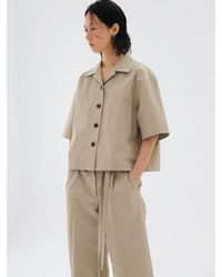 AEER Strap Detail Wide Trousers Khaki Beige - Natural
