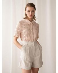 among A Herringbone Linen Shorts_beige - Natural