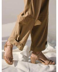 Alohas Grace Mid Heel Strap Sandals Beige - Natural