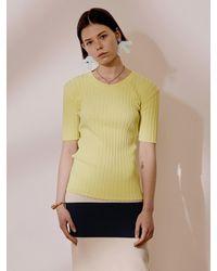 J.CHUNG Luton Half Sleeve Knit Top - Yellow
