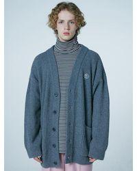 WAIKEI Overfit Lams Wool Cardigan - Grey