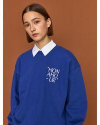 HIDDEN FOREST MARKET Mon Amour Sweatshirt - Blue