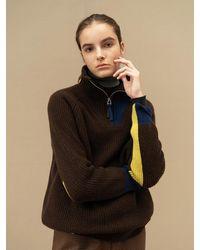 AVA MOLLI Cashmere Half Zipup Knit Jumper - Brown