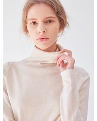 PLOT Turtleneck Basic Knit Beige - Natural
