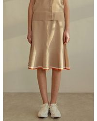 among A Colour Flare Skirt - Natural