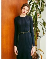 YAN13 - Elle Long Knit Dress - Navy - Lyst