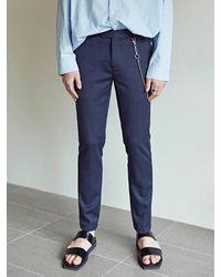 YAN13 Premier Slim Straight Slacks - Blue