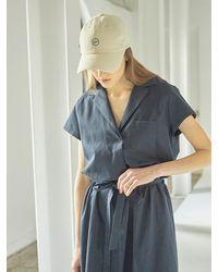 HIDDEN FOREST MARKET Cotton Mini Pocket Dress - Blue