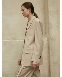 AEER Single Button Jacket Beige - Natural